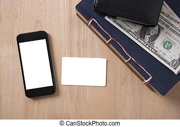 carte, crédit, sommet, téléphone, bois, desktop., vide, blanc écran, intelligent, vue