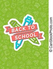 carte, crayon, école, emblème, couleur, dos, rouge vert, fond, stylo, consister, ruban