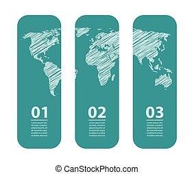 carte, croquis, bannière, spécial, conception