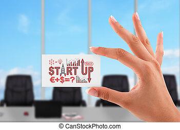 carte, début, concept, haut, business