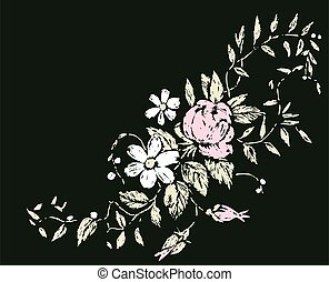 carte, décoratif, fleurir, vecteur, croquis, branche