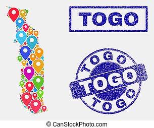 carte, détresse, timbre, cachets, togo, epingles, mosaïque