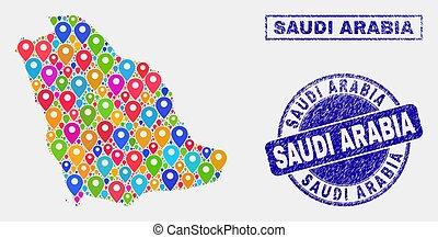 carte, détresse, timbre, indicateurs, cachets, arabie saoudite, mosaïque
