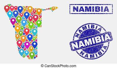 carte, détresse, timbre, indicateurs, cachets, namibie, mosaïque