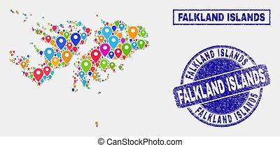 carte, détresse, timbre, marqueurs, cachets, îles, falkland, mosaïque