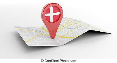 carte, danemark, illustration, arrière-plan., blanc, indicateur, 3d