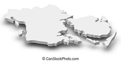 carte, (danmark), danemark, -, 3d-illustration, sud