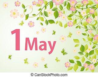 carte, day., salutation, mai, printemps, arbre, floraison, travail, international, main-d'œuvre, mayday, 1, célébration