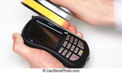carte de débit, -, mené, terminal, hd, vert