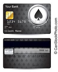 carte de débit, poker, conception, bêche