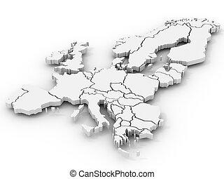 carte, de, europe