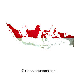 carte, de, indonésie, isolé