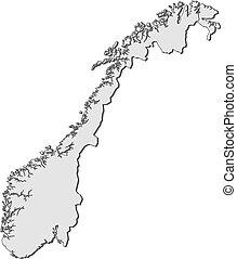 carte, de, norvège