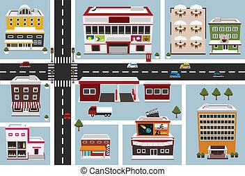 carte, de, secteur commercial