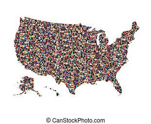 carte, de, usa, depuis, foule, de, différent, gens, isolé