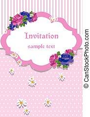 carte, dentelle rose, ornements, invitation