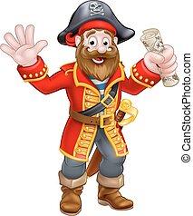 carte, dessin animé, tenue, pirate