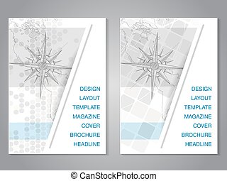 carte, dessiner, moderne, main, vecteur, conception, compas, brochure