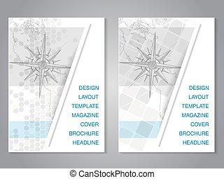 carte, dessiner, moderne, main, vecteur, conception, compas, brochure
