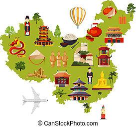 carte, différent, chinois, voyage, style, illustration, culturel, vecteur, objects., dessin animé