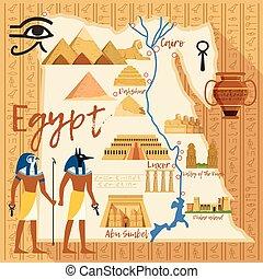 carte, différent, egypte, repères, stylisé, culturel, objets