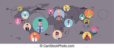 carte, différent, groupe, gens, sur, profession, connexion, mondiale, ouvriers, occupation