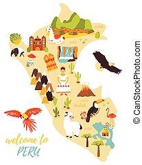 carte, différent, touriste, pérou, repères