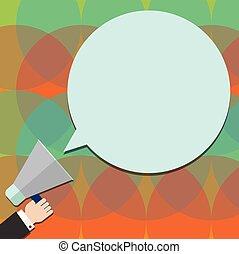 carte, disposition, tenue, affaires colorent, affiche, invitation, salutation, analyse, hu, vecteur, parole, bon, gabarit, vide, main, promotion, porte voix, bulle, rond, vide