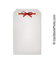 carte don, note, à, ruban rouge, arc, isolé, blanc, fond