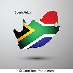 carte, drapeau, afrique, sud