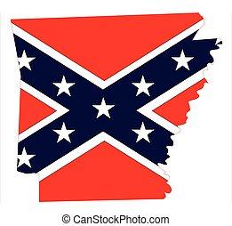 carte, drapeau, arkansas, confédéré