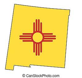 carte, drapeau, contour, nouveau mexique