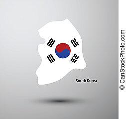carte, drapeau, corée sud