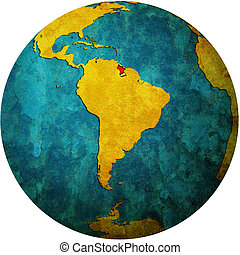 carte, drapeau, globe, guyane