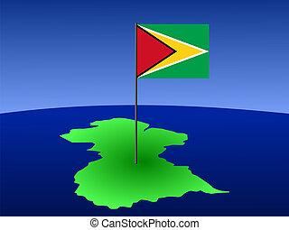 carte, drapeau, guyane