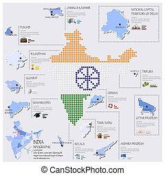 carte, drapeau inde, infographic, conception, point