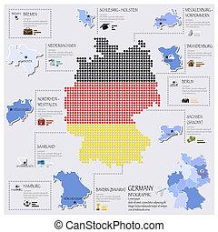 carte, drapeau, infographic, allemagne, conception, point