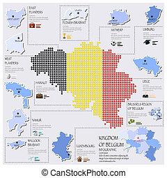 carte, drapeau, infographic, conception, belgique, point