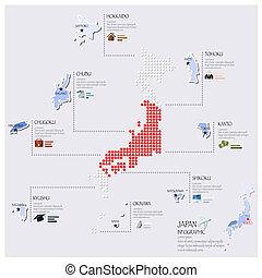 carte, drapeau, infographic, conception, japon, point