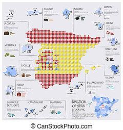 carte, drapeau, infographic, conception, point, espagne