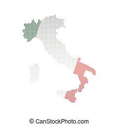 carte, drapeau, italie