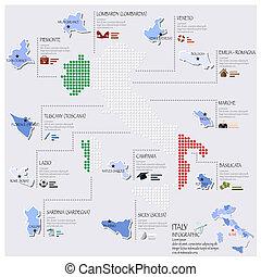 carte, drapeau italie, infographic, conception, point
