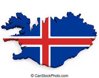 carte, drapeau, république, 3d, islande