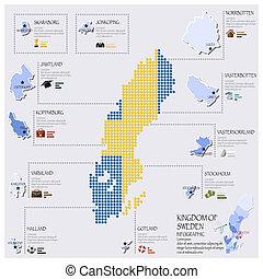carte, drapeau, suède, infographic, conception, point