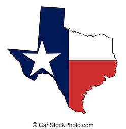 carte, drapeau texas, contour