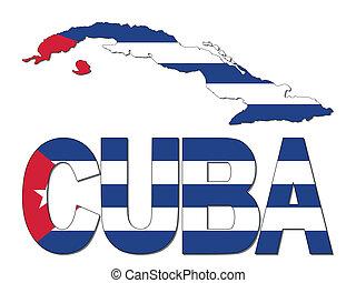 carte, drapeau, texte, illustration, cuba