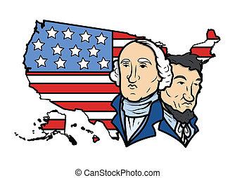 carte, drapeau, vecteur, usa, présidents