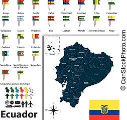 carte, drapeaux, équateur