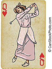 carte, drawing., vendange, reine, -, freehand, woman., golfeur, jouer