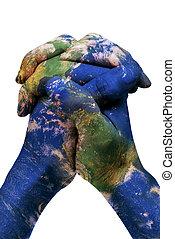 carte, (earth, meublé, nasa), mains, mondiale, ton